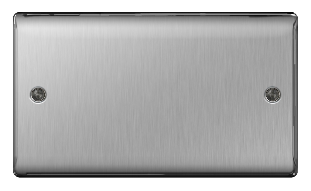 BG Brushed Steel Blank Plate - 2 Gang