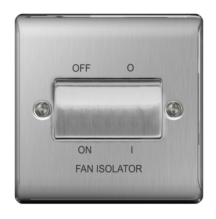 BG Steel 10ax Plate Switch Fan Isolater - 3pole