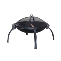 Pagoda Foldable Fire Pit BBQ with Mesh Lid