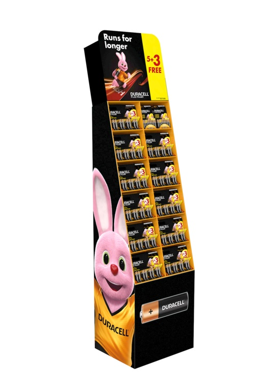 Duracell Battery Stand 5 + 3 FREE Packs - 102 cards