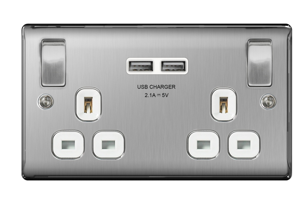 BG 13a 2 Gang Switch Socket & USB - Brushed Steel With White Inserts