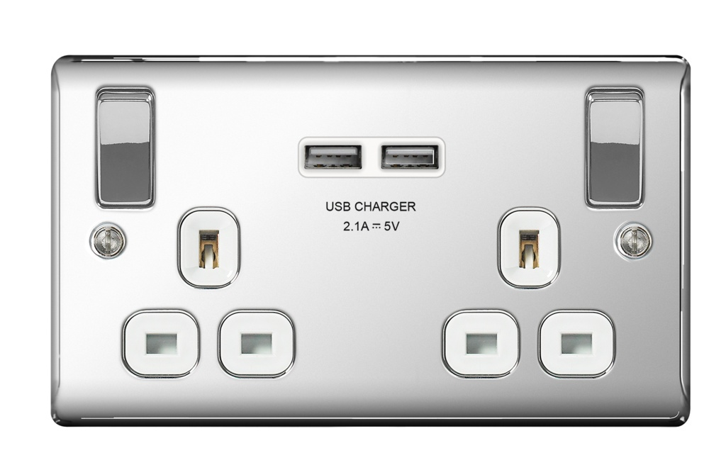 BG 13a 2 Gang Switch Socket & USB - Polished Chrome With White Inserts
