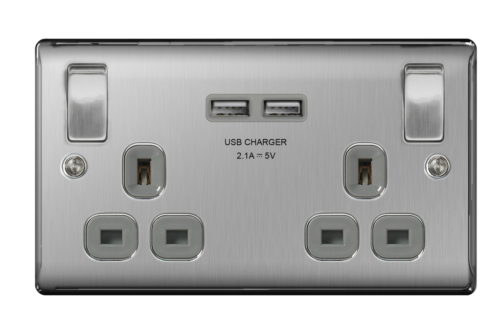 BG 13a 2 Gang Switch Socket & USB - Brushed Steel With Grey Inserts