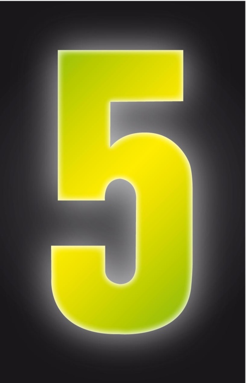 Classic Designs Hi Vis Yellow Wheelie Bin Number - 5
