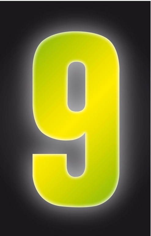 Classic Designs Hi Vis Yellow Wheelie Bin Number - 9