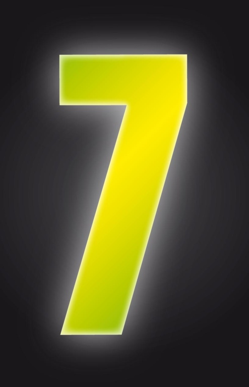 Classic Designs Hi Vis Yellow Wheelie Bin Number - 7