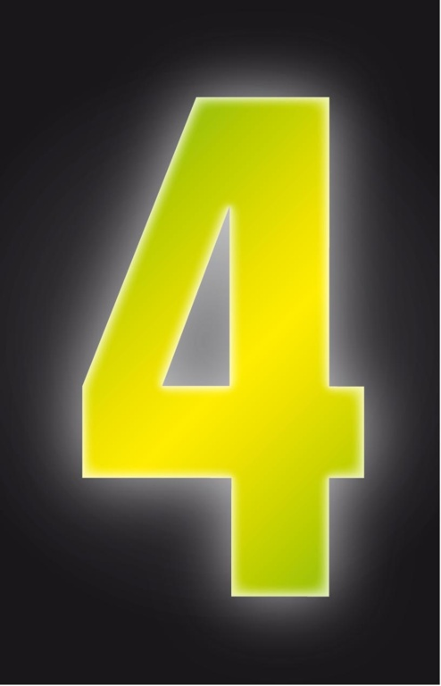 Classic Designs Hi Vis Yellow Wheelie Bin Number - 4