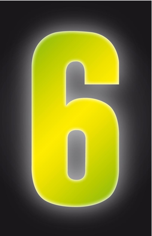Classic Designs Hi Vis Yellow Wheelie Bin Number - 6