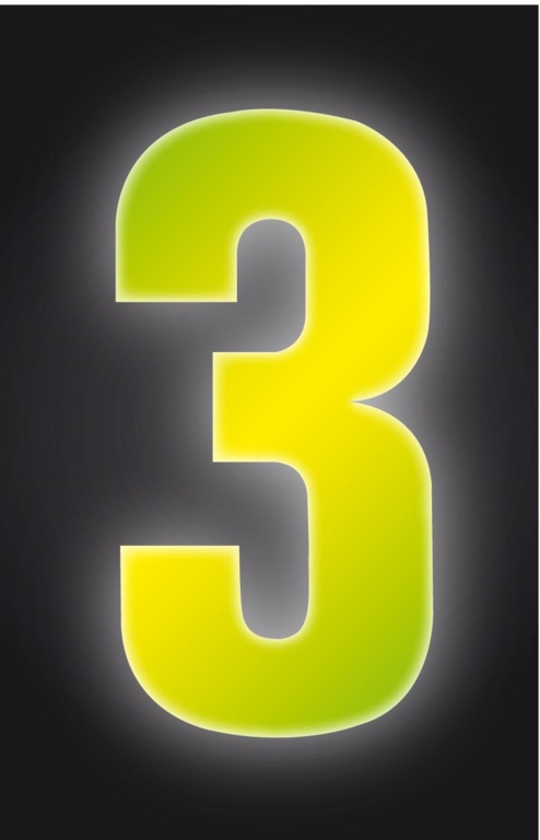 Classic Designs Hi Vis Yellow Wheelie Bin Number - 3