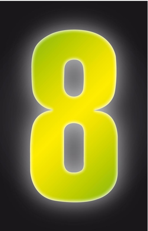 Classic Designs Hi Vis Yellow Wheelie Bin Number - 8
