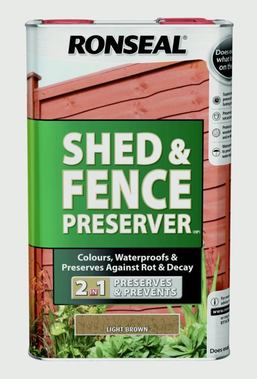 Ronseal Shed & Fence Preserver 5L - Light Brown