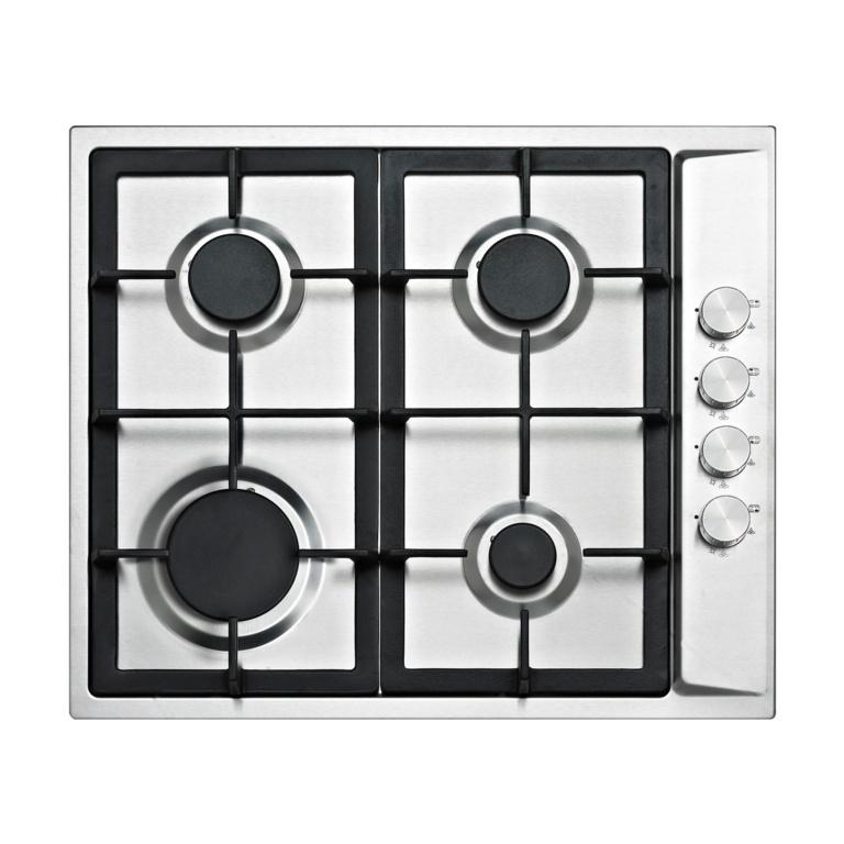 Kitchenplus 4 Burner Stainless Steel Gas Hob - (w)580mm x (h)94mm x (d)500mm