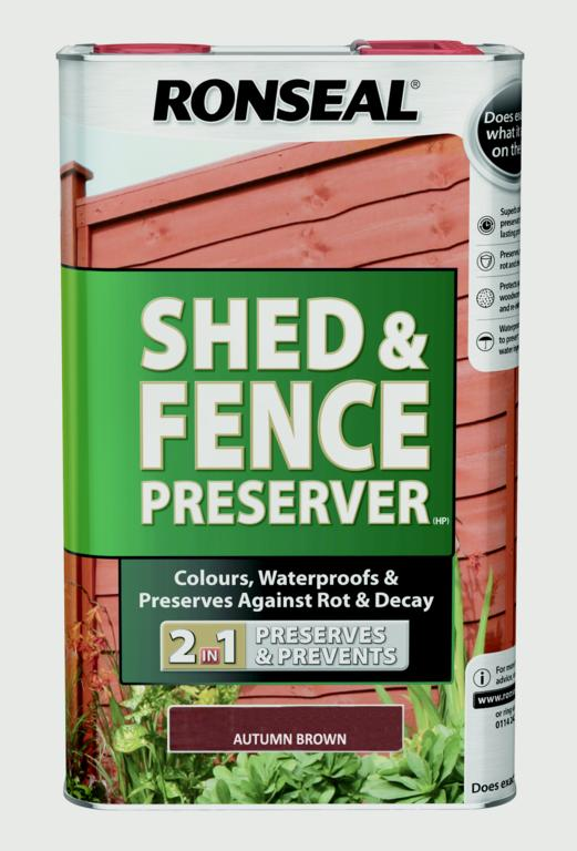 Ronseal Shed & Fence Preserver 5L - Autumn Brown