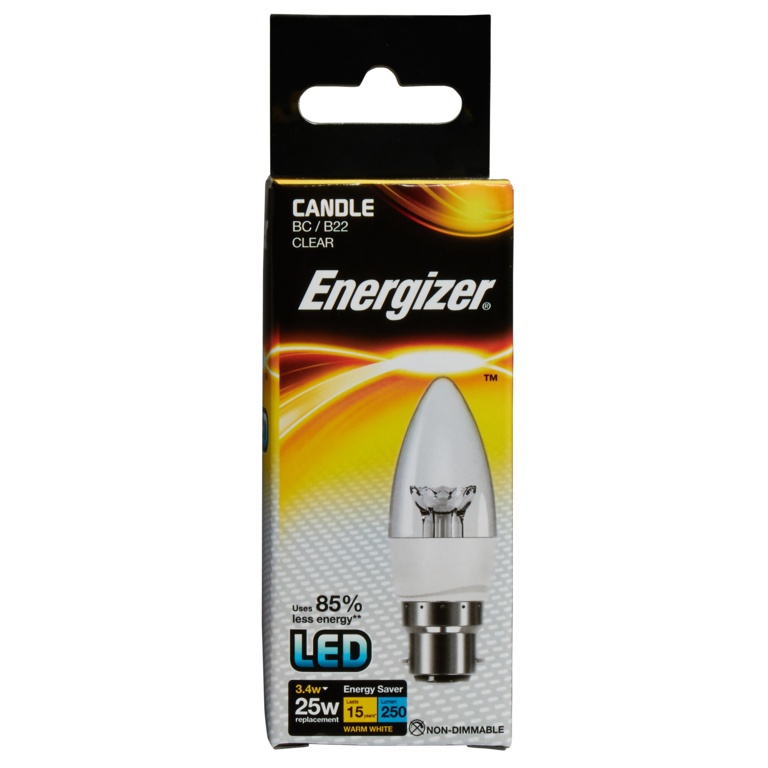 Energizer LED Candle 250lm B22 Clear Warm White BC - 3.4w