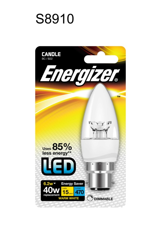 Energizer LED Candle 470lm Warm White BB B22 - 6.2w