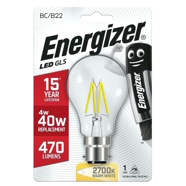 Energizer Filament LED GLS B22 Warm White BC - 4w 470lm