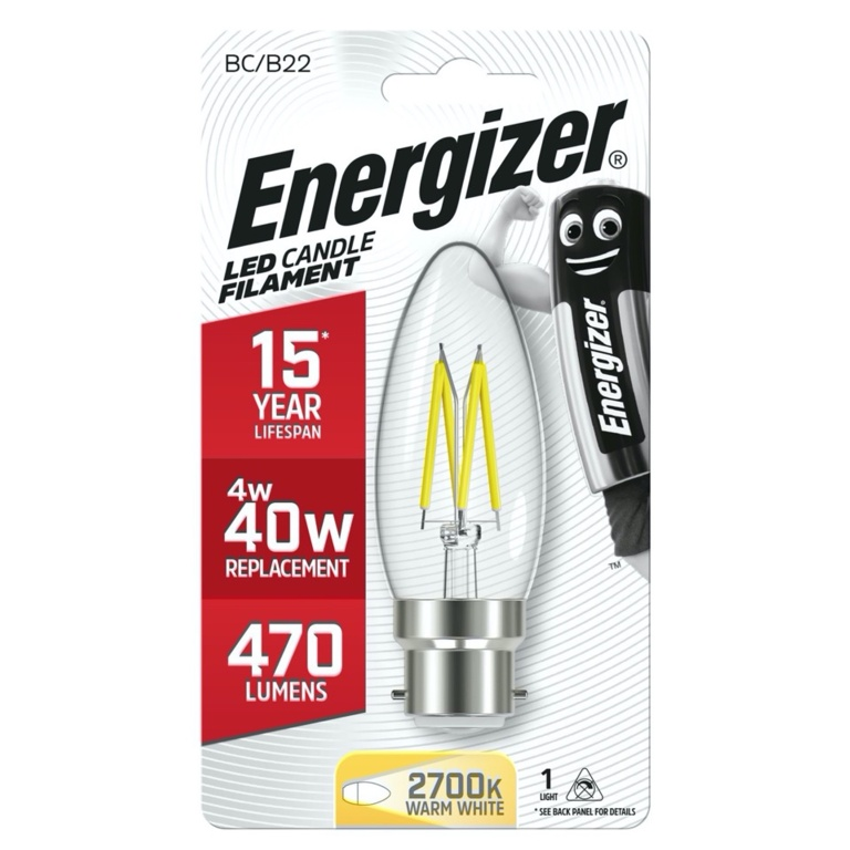 Energizer Filament LED 470lm B22 Warm White BC - 4w 470lm