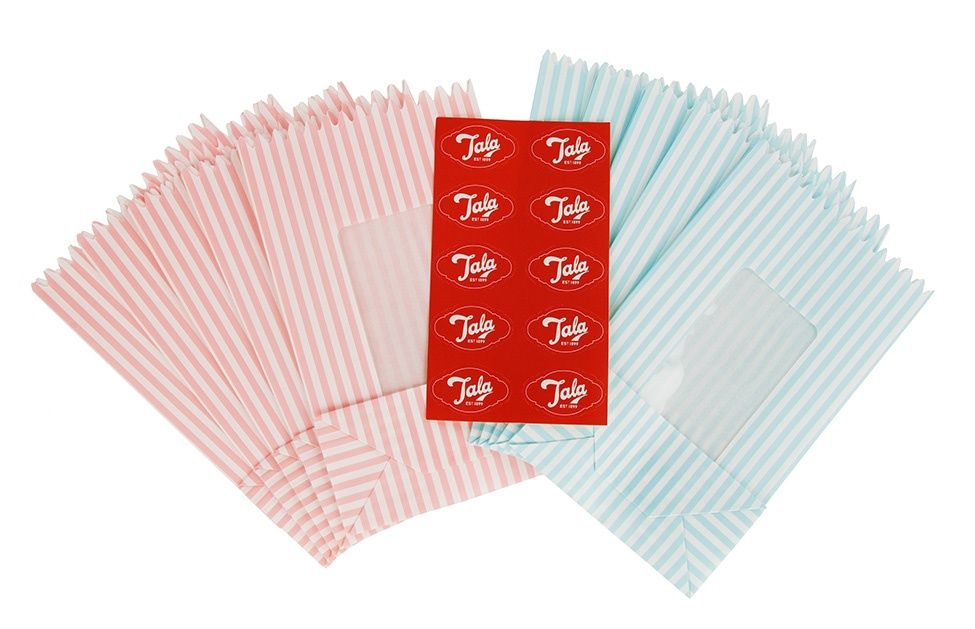 Tala Originals Stripey Treat Bags with window - Pack 10