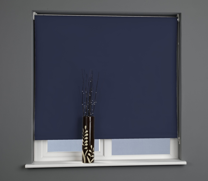 Universal Plain Black Out Roller Blind Midnight Blue - 120cm