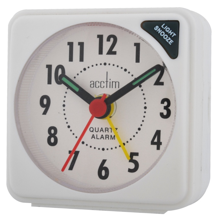 Acctim Ingot Mini Alarm Clock - White