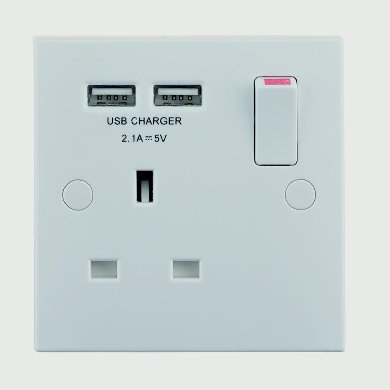 BG 13 Amp 1 Gang Switched Socket With USB Charger - White
