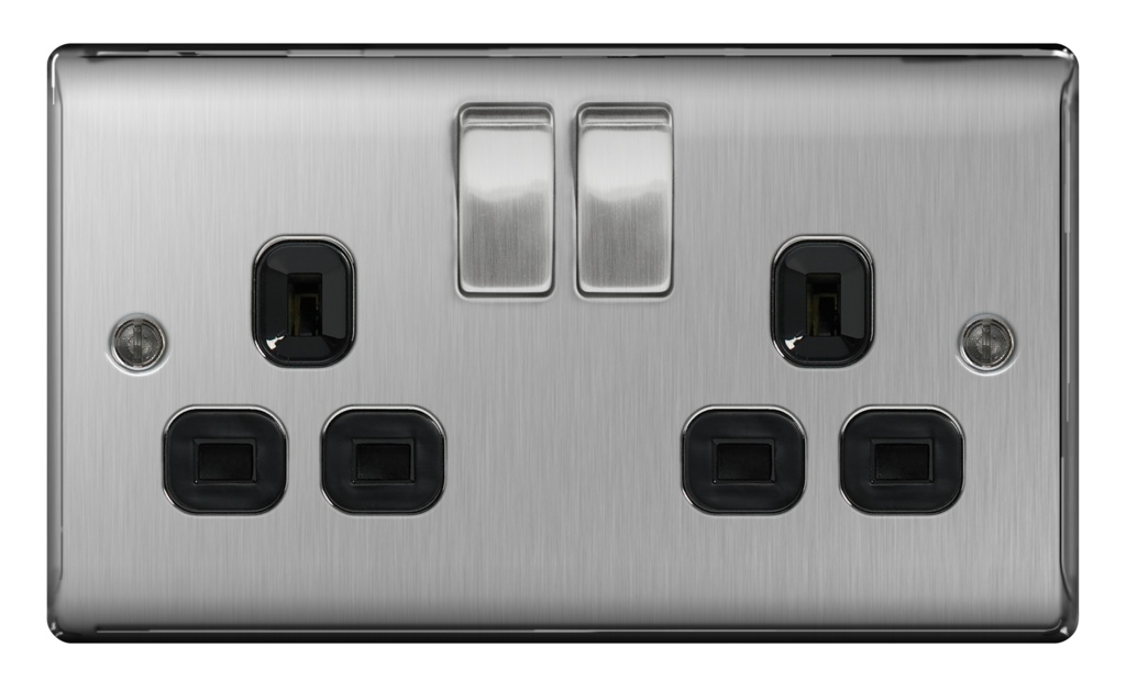 BG 13a 2 Gang Switch Socket - Brushed Steel With Black Inserts