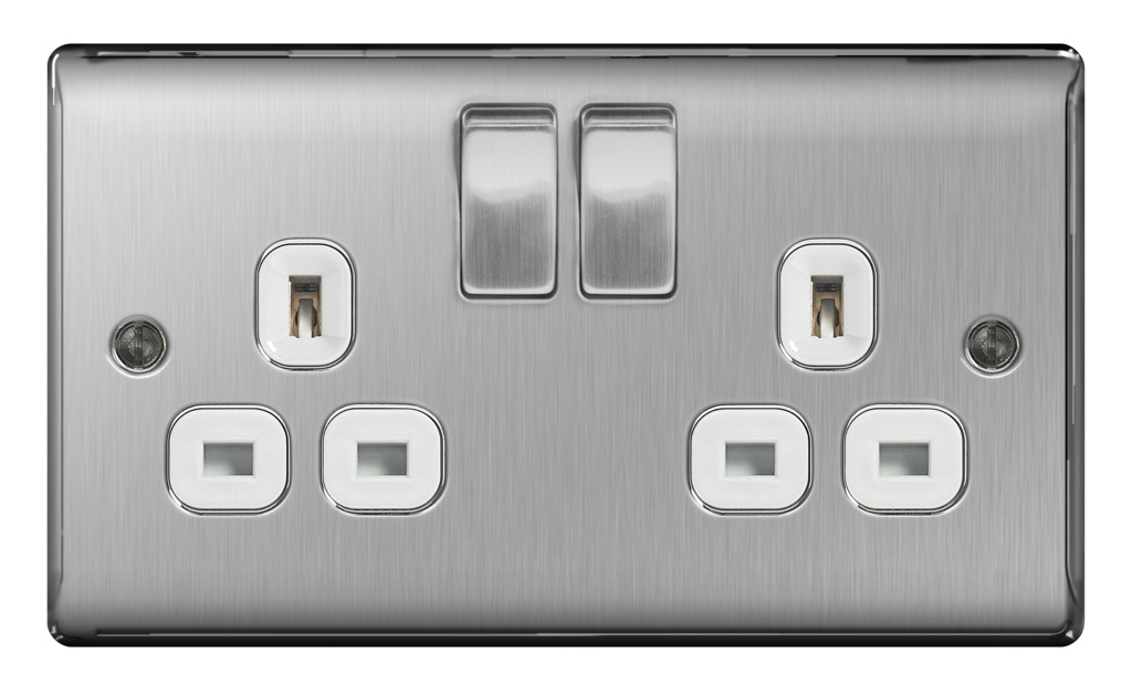 BG 13a 2 Gang Switch Socket - Brushed Steel With White Inserts