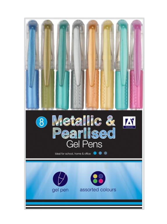 A Star Metallic & Pearlised Gel Pens - Pack 8