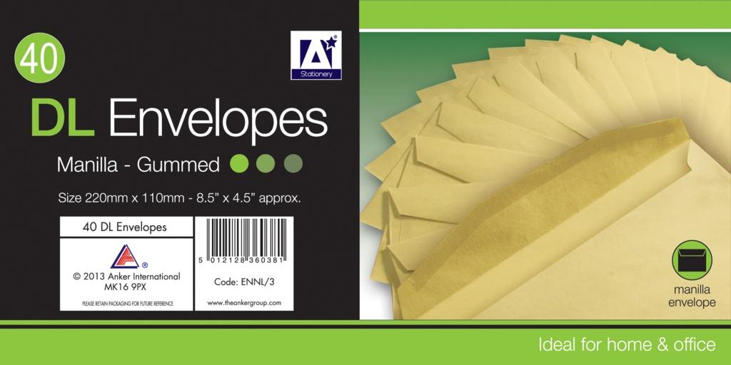 A Star DL Gummed Manila Envelopes - Pack 30