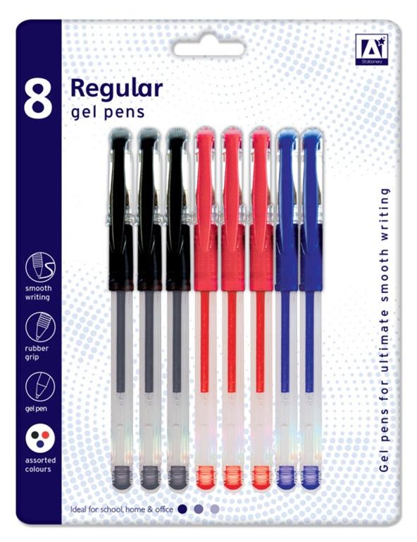 A Star Regular Gel Pens - Pack 8