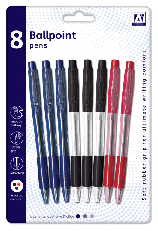 A Star Ballpoint Pens With Grips - Pack 8