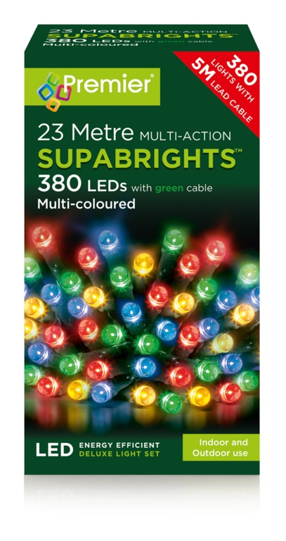 Premier Multi Action Supabrights - 380 Multi Colour LED With Green Cable