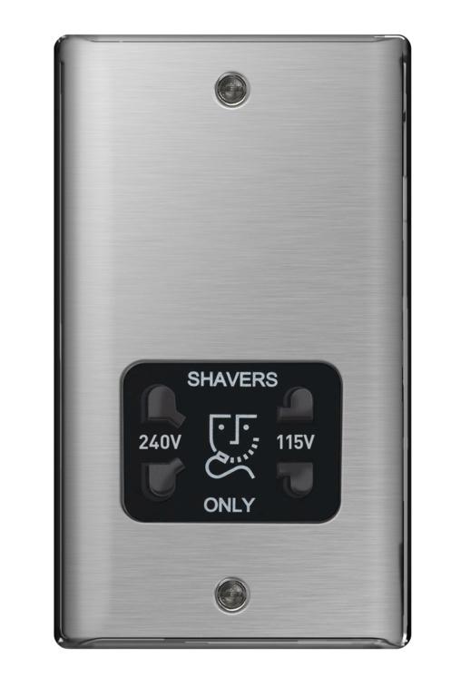 BG Shaver Socket 115/230v - Brushed Steel/Black