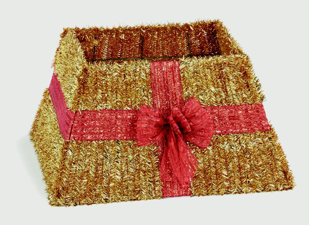 Premier Gold Tinsel Tree Skirt Red Ribbon Bow