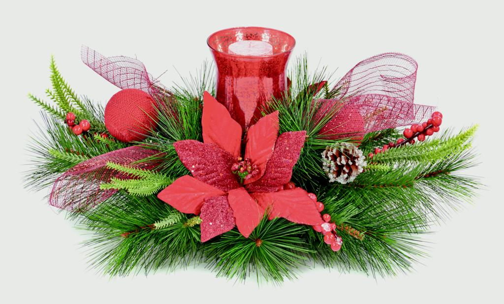 Premier Poinsettia Candle Holder Red Poinsettia - 60cm