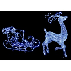Premier Acrylic Reindeer & Sleigh 140 White LED