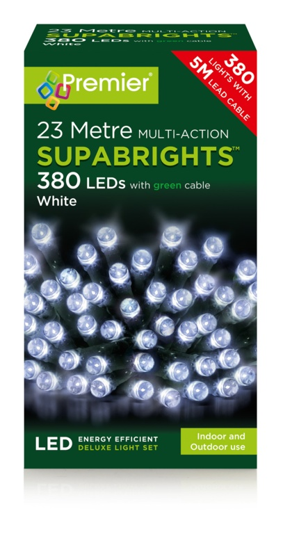 Premier Multi Action Supabrights - 380 White LED Green Cable