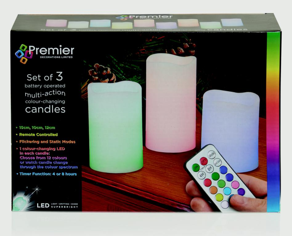 Premier Battery Operated Colour Changing Candles - Set 3 With Remote Control