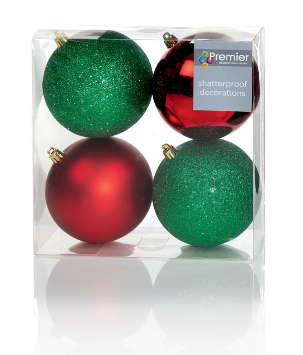 Premier Multi Finish Balls - Red & Green 4 X 100mm Pack 4