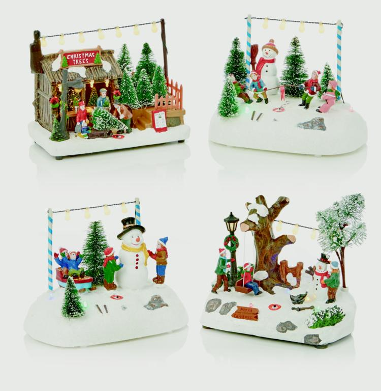 Premier Lit Winter Scenes - 4 Assorted Designs Battery Operated