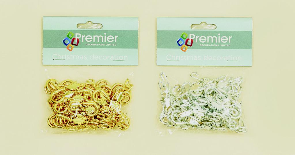 Premier Tree Hooks Gold or Silver - Bag of 48