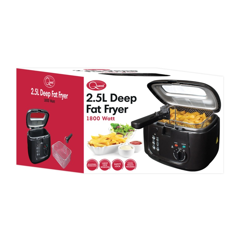 Quest Deep Fat Fryer With Removeable Lid 2.5L - Black