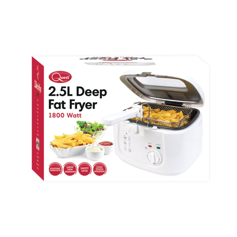 Quest Deep Fat Fryer With Removeable Lid 2.5L - White