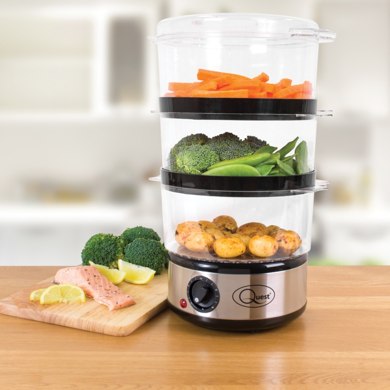 Quest 3 Layer Compact Food Steamer - Stainless Steel
