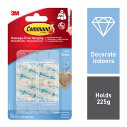 Command Mini Hooks Clear x6 17006