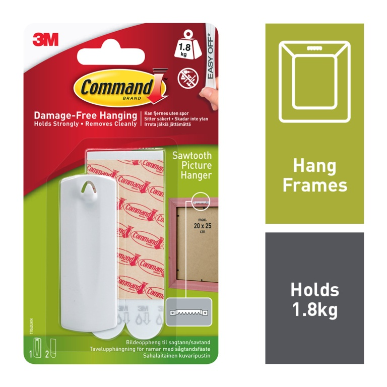Command Sawtooth Picture Hanger - 1 hanger, 2 large strips