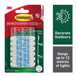 Command Outdoor Decorating Clips Clear x20 17026HAW