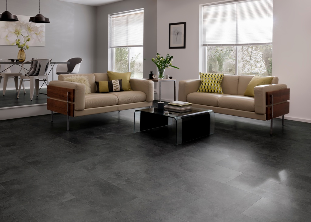 Karndean Cetona Black Vinyl Floor Tile 600 x 307 - 1.842m