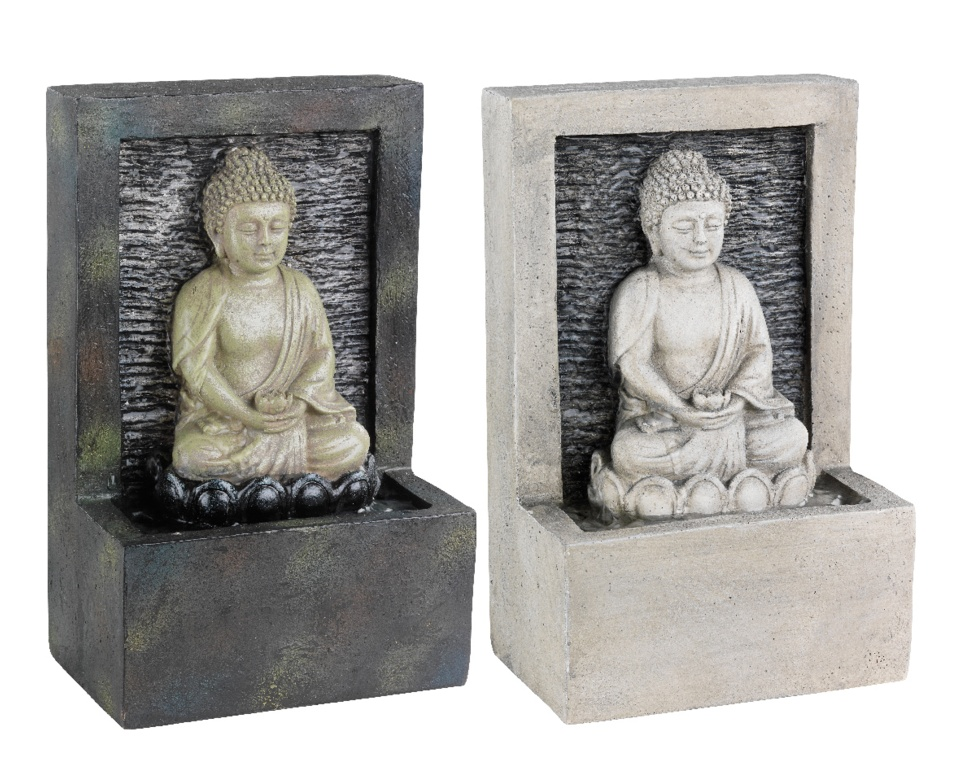 Kaemingk LED Poly Buddha Fountain Assorted - 15x10x23.5