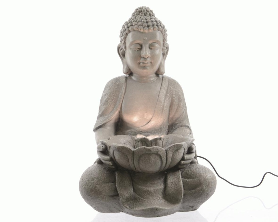 Kaemingk LED Grecian Buddha Fountain - 29x28x42.5 Grey